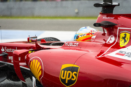 pirelli: JEREZ, SPAIN - JANUARY 31: Fernando Alonso testing his new Ferrari F14 T F1 car on the first Test at the Jerez Circuit in Jerez, Andalucia, Spain on Jan. 31, 2014.