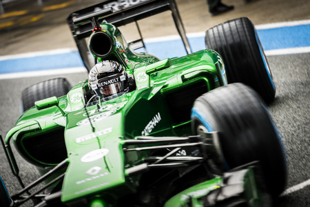 JEREZ, SPAIN - JANUARY 31: Kamui Kobayashi testing his new Caterham CT05 F1 car on the first Test at the Jerez Circuit in Jerez, Andalucia, Spain on Jan. 31, 2014.