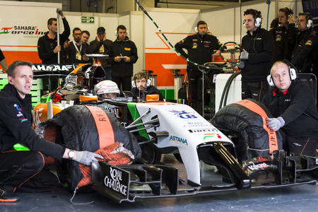 JEREZ, SPAIN - JANUARY 31: Daniel Juncadella test driving the new Force India  F1 car on the first Test at the Jerez Circuit in Jerez, Andalucia, Spain on Jan. 31, 2014. Editorial