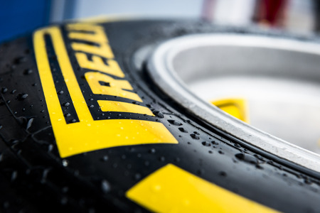 pirelli: JEREZ, SPAIN - JANUARY 31: Pirelli Tyre on display in the paddock on the first Test at the Jerez Circuit in Jerez, Andalucia, Spain on Jan. 31, 2014.