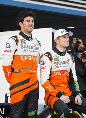 unveil: JEREZ, SPAIN - JANUARY 31: Sergio Perez & Nico Hulkenberg unveil there new Force India VJM07 F1 car on the first Test at the Jerez Circuit in Jerez, Andalucia, Spain on Jan. 31, 2014.