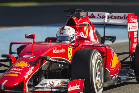 vettel: JEREZ, SPAIN - FEBRUARY 2ND: Sebastian Vettel testing his new Ferrari SF15-T F1 car on the first Test at the Jerez Circuit in Jerez, Andalucia, Spain on Feb. 2, 2015. Editorial