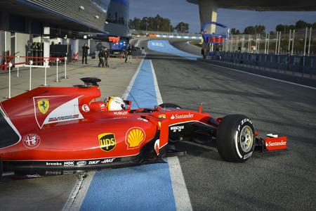 JEREZ, SPAIN - FEBRUARY 3RD: Kimi Raikkonen testing his new Ferrari SF15-T F1 car on the first Test at the Jerez Circuit in Jerez, Andalucia, Spain on Feb. 3, 2014. Editorial