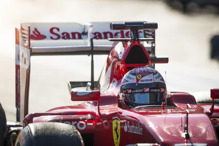 vettel: JEREZ, SPAIN - FEBRUARY 3RD: Kimi Raikkonen testing his new Ferrari SF15-T F1 car on the first Test at the Jerez Circuit in Jerez, Andalucia, Spain on Feb. 3, 2014. Editorial