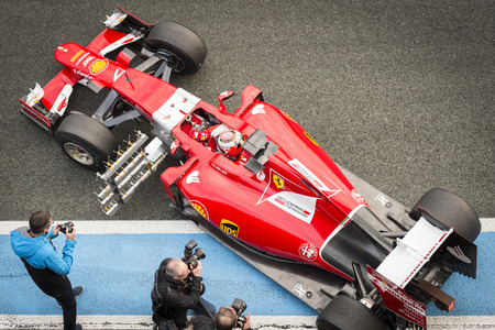 vettel: JEREZ, SPAIN - FEBRUARY 3RD: Kimi Raikkonen testing his new Ferrari SF15-T F1 car on the first Test at the Jerez Circuit in Jerez, Andalucia, Spain on Feb. 3, 2014. Editorial