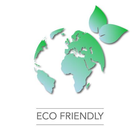Día de la Tierra. Globo del mundo mapa verde. Respetuoso del medio ambiente. Piense el verde ir verde. Ambiente