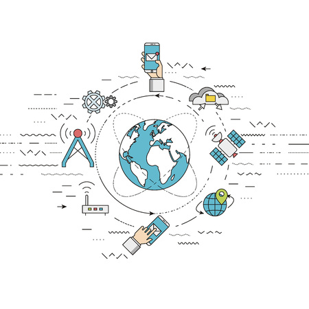 global communication: illustration represents telecommunication concept, mobile technology and global internet network concept. Flat, thin line style