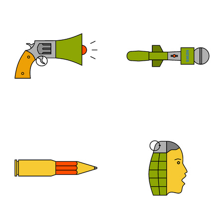 Information war icon set. Information war concept. Media manipulation concept. News spread concept. Flat, thin line design.