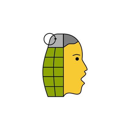 granade: Information war icon. Information war concept. Granade and voice news spread.  Flat, thin line design.