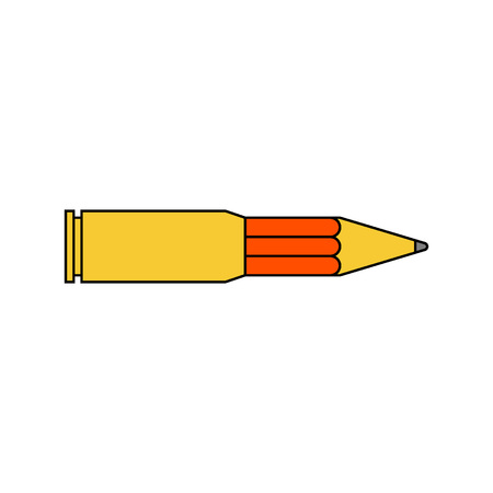 cyber terrorism: Information war icon. Information war concept. Pencil and bullet.  Flat, thin line design. Illustration