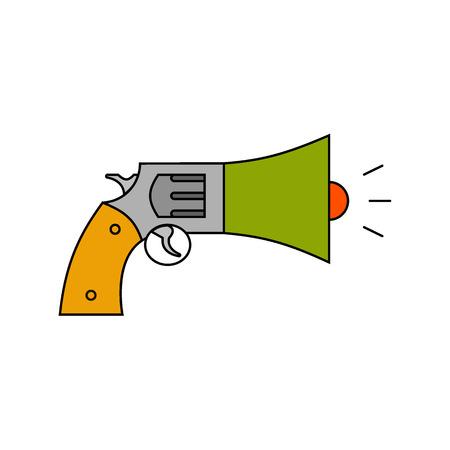 cyber warfare: Information war icon. Information war concept. revolver and megaphone.  Flat, thin line design. Illustration