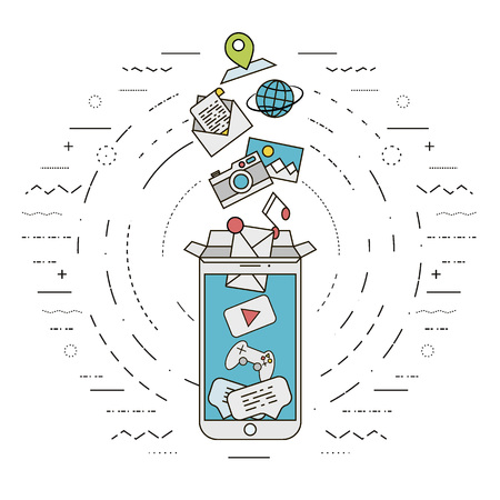 illustration represents modern smartphone which replace a lot of things. All in one box concept. Opened box. Flat, thin line design. Illustration