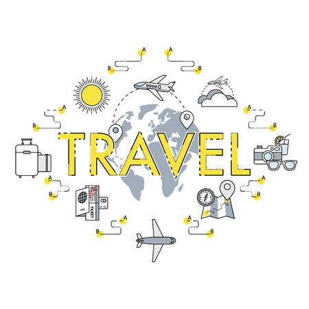 mohito: Traveling around the World banner. Vacation or holidays. Planing trip road. Tourism set. Journey planing. Travelling illustration. Flat, thin line design.