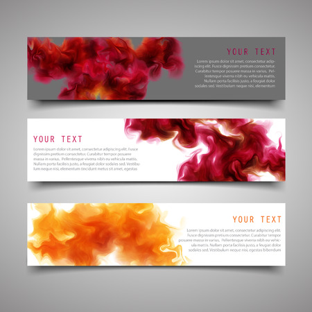 water splash isolated on white background: A set of modern banners. With the purple-wine smoke, which dissolving in the air background. illustration.