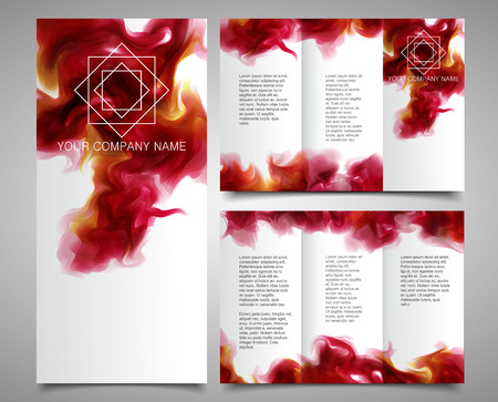 Brochure Design Template With the purple-wine smoke, which dissolving in the air background. Illustration