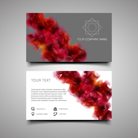water splash isolated on white background: Modern simple light business card template with amazing background. With the purple-wine smoke, which dissolving in the air background. Illustration