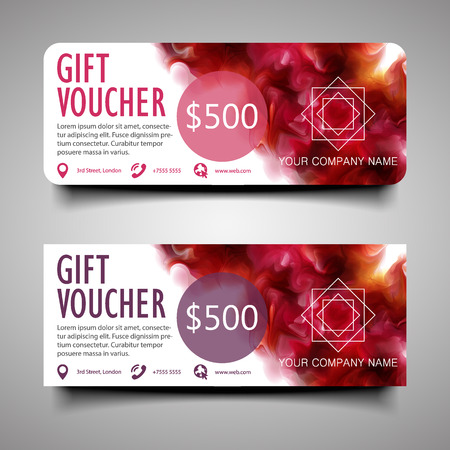 Elegant gift Voucher. With the purple-wine smoke, which dissolving in the air background.