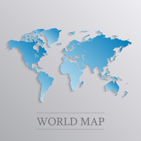 Blue flat world map with 3d effect.