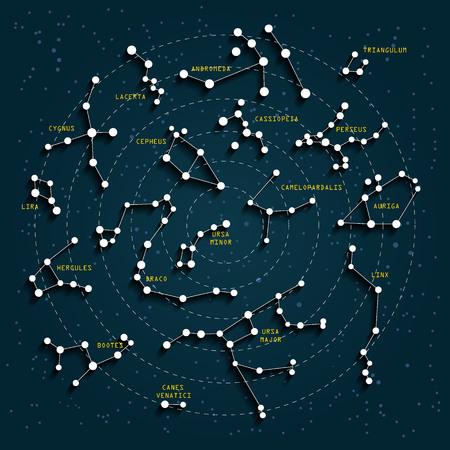 constelaciones: cielo nocturno mapa con efecto 3D. Constelaciones y estrellas. Vectores