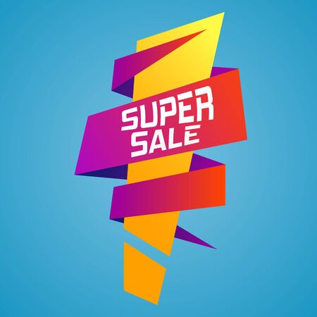 Super mega sale ribbon banner with an exclamation mark. Stock Photo