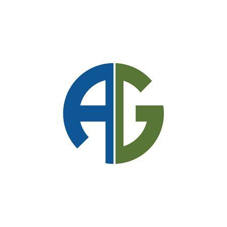Initial letter ag logo or ga logo vector design template Logo