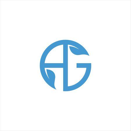 Initial letter ag logo or ga logo vector design template