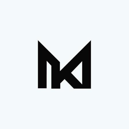 Initial letter km logo or mk logo vector design template