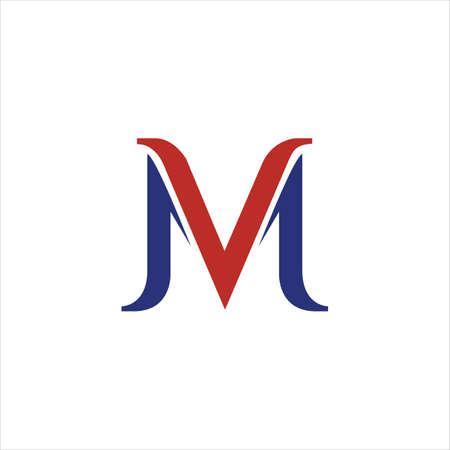 Initial letter mv logo or vm logo vector design template Logó