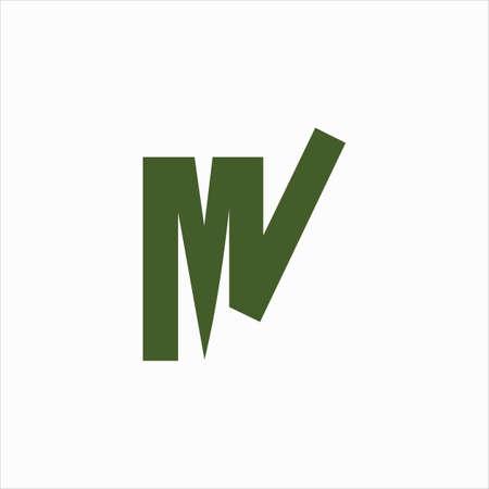 Initial letter mv logo or vm logo vector design template