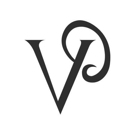 Initial letter vp logo or pv logo vector design template