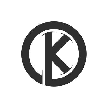 Initial letter ko logo or ok logo vector design template