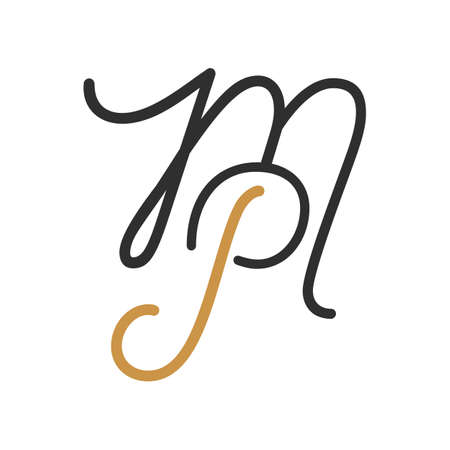 Initial letter mp or pm vector design template