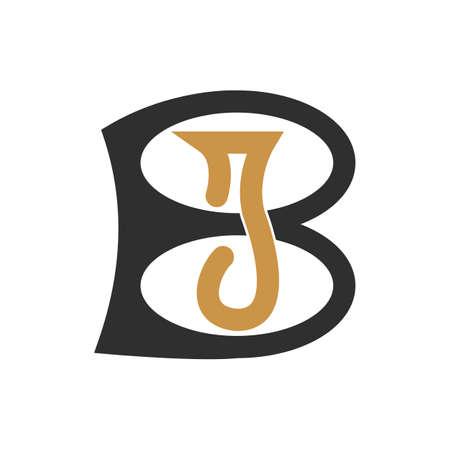 Initial letter bj logo or jb logo vector design template