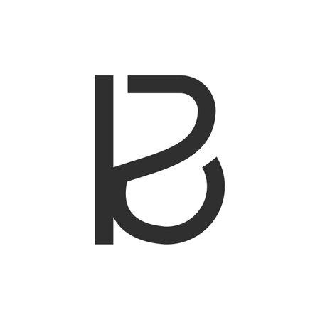 Creative abstract letter kb design. Linked letter bk design.