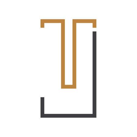 Creative abstract letter jt logo design. Linked letter tj logo design. Logó
