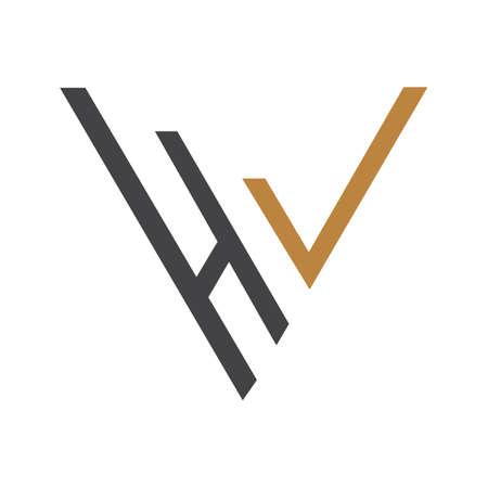 Initial letter vh logo or hv logo vector design template