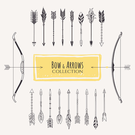 drawing arrow: Decorative bows and arrows collection.  Illustration