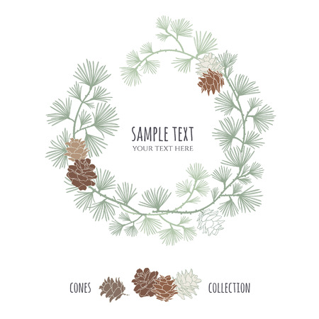 larch: Cones set. Frame wreath. Larch branches with cones. Invitation card. Wedding invitation. greeting card. Pine decorative elements for your design.