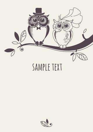 Sjabloon kaart met een paar uilen op een boomtak. Wenskaart. Huwelijksuitnodiging.