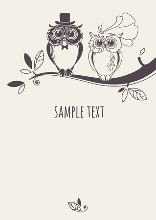 bride: Template card with a couple of owls on a tree branch. Greeting card. Wedding invitation. Illustration