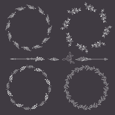 snag: Set of wreaths and arrows on black background. Decorative frame from stylized twigs, feathers. Arrow border.