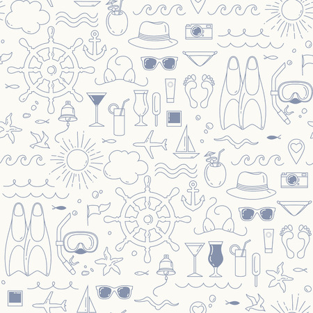 decorative objects: Sea and beach objects. Summer seamless pattern with decorative sea elements .