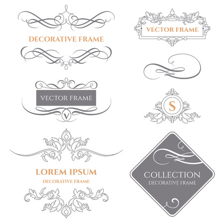 decorative frames: Collection of decorative frames and borders.Calligraphic elements. Template signage,  labels, stickers, cards. Graphic design page.