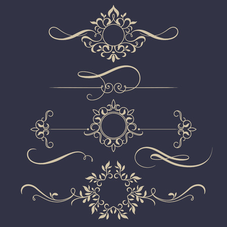 Decorative monograms and calligraphic borders. Template signage, labels, stickers, cards. Graphic design page. Classic design elements for wedding invitations. Vettoriali