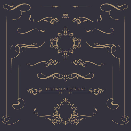 Decorative monograms and calligraphic borders. Template signage,  labels, stickers, cards. Graphic design page. Classic design elements for wedding invitations.