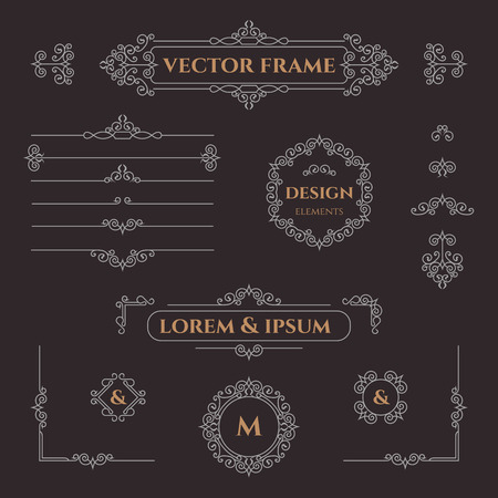 Set of decorative monograms, borders, frames, corners. Design collection for labels, invitations, posters, badges, signage, stickers, cards. Graphic design page. Illustration