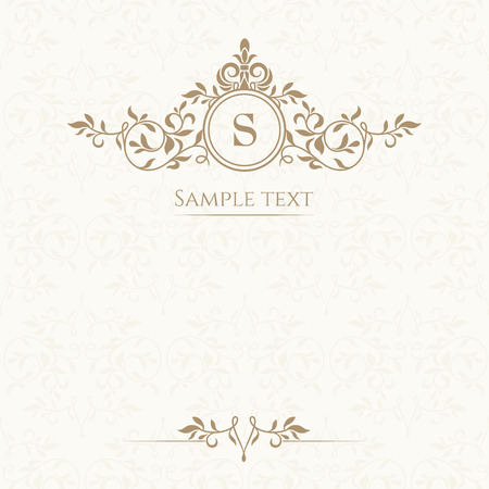 Monogram, border and classic seamless pattern. Template for greeting cards, invitations, menus, labels. Graphic design page. Vectores