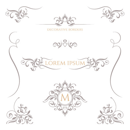 Decorative frame, monogram, border. Template signage,  labels, stickers, cards. Graphic design page. Classic design elements for wedding invitations.