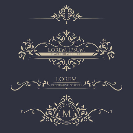 elegant design: Decorative frame, monogram, border. Template signage, labels, stickers, cards. Graphic design page.