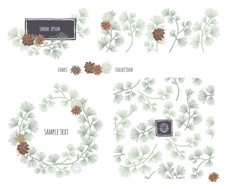 pine needles: Collection of decorative cones. Coniferous seamless pattern. Frame wreath. Larch branches with cones. Pine decorative elements for your design. Vector illustration.